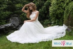 Suknia ślubna z włoskiej koronki na sprzedaż