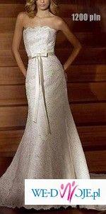 Suknia ślubna z wysadzanej cyrkoniami koronki hiszpańskiej