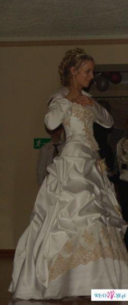 suknia  ślubna ze złotą koronką-boleko i rękawiczki gratis!