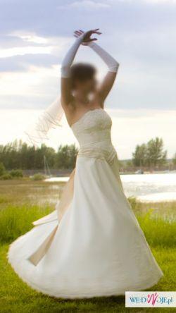 Suknia w kolorze kości słoniowej na wysoką dziewczynę