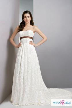 Suknia w stylu empire, ecru 44/46 na 175 cm, tren