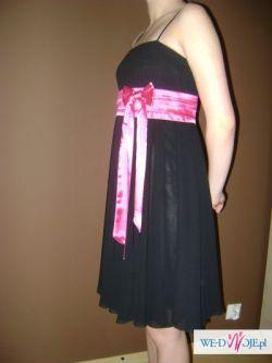 SUKNIA WIECZOROWA! czarna z różowym pasem