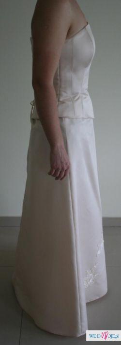 suknia wizytowa z gorsetem ecriu