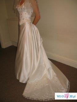 Suknia z pięknym trenem TANIO!