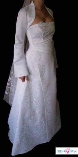 Suknia z podpinanym trenem + dodatki rozm. 34/36