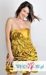 Suknia złota drapowana fantazja od polskiego projektanta mody