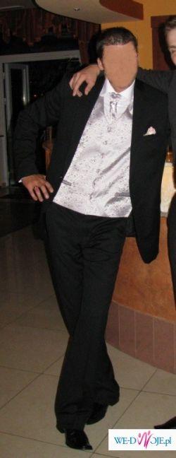 Sunset Suits - srebrna kamizelka, musznik, butonierka !!!
