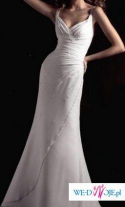 superkobieca perłowa suknia ślubna