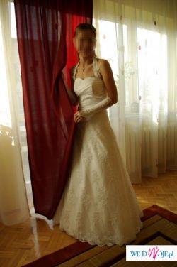 SUWAŁKI-Śnieżnobiała suknia, koronkowe wykończenie + DODATKI