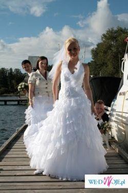 Szlachetna suknia ślubna, szyta, POZNAŃ
