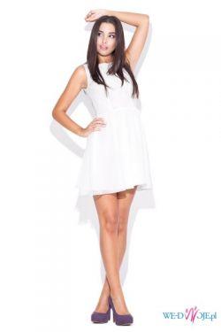 Szyfonowa elegancka sukienka - czarna, biała