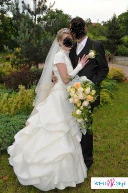 tanio !!! piękna suknia ślubna ecru
