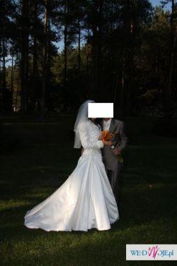 Tanio piękna suknia ślubna+welon+bolerko