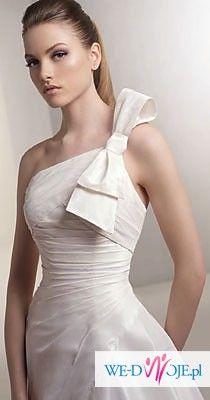 """TANIO: Stylowa suknia z kokardą z salonu """"Madonna"""" – rozm. 38"""