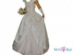 Tanio!!! Suknia biało - blado różowa.
