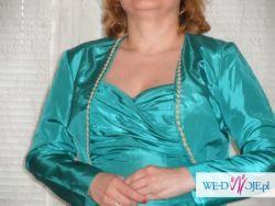 Turkusowa suknia balowa z bolerkiem lub  szalem