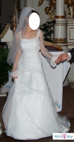 Urocza i elegancka suknia ślubna z rekawkami, snieznobiala!