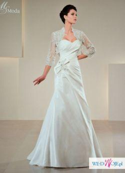 Urocza suknia ślubna NOWA 40 ecry z bolerkiem.