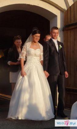 Włoska suknia ślubna r.38+gratis bolerko z koronki i halka na kole