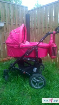 Wózek 3 w 1 różowy idealny dla dziewczynki, śpiworek gratis