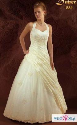 wyczyszczona piękna suknia ecru firmy DUBER rozmiar 38 + dodatki