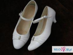wygodne, białe buty ślubne rozm. 39.