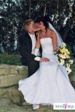 wyjątkowa suknia ślubna biała GLORIA roz. 36 - 38 kolekcja 2008