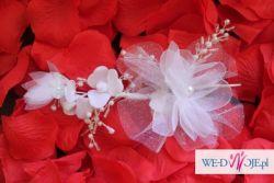 Wyjątkowy biały welon kryształki sopelki + stroik