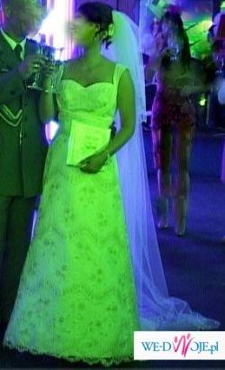 wysmuklająca śliczna suknia ślubna, koronkowa, roz. 38