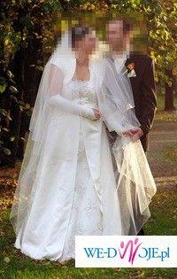 WYSZCZUPLAJĄCA suknia ecru DLA WYSOKIEJ, panny młodej w ciąży EDDY K