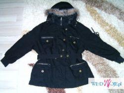 zimowa kurtka XXL czarna z kapture, może być ciążowa(ściągacz)