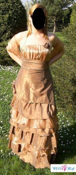 Złota suknia wieczorowa-jak nowa-rozmiar 40