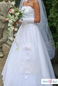 Zniewalająca suknia slubna+ dodatki (welon, rękawiczki, ozdoba na szyję i włosy)