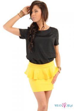 Żółta spódniczka z baskinką XS-XL