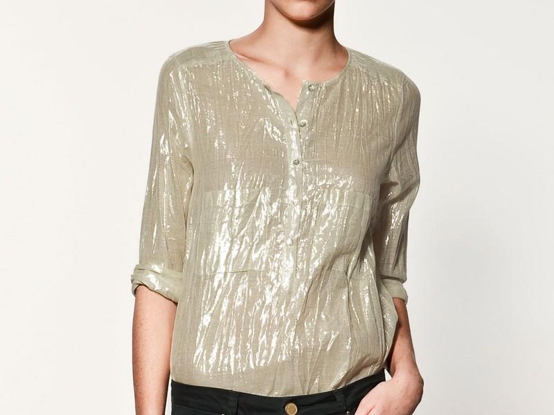 złota bluzka ZARA jesieńzima 20112012 Bluzki i koszule  3mXCL