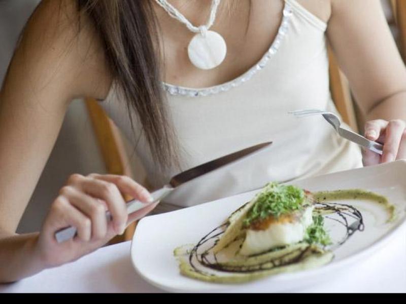 kobieta, obiad, jedzenie