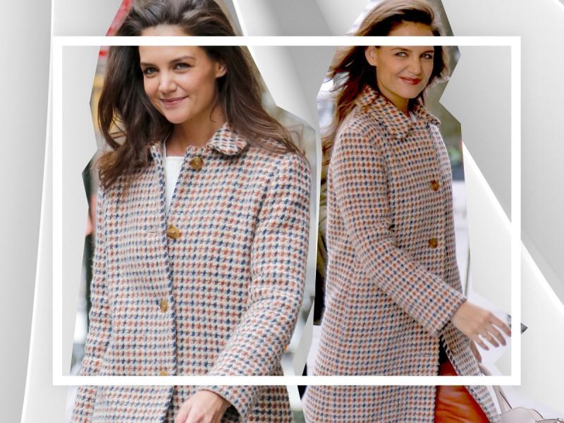Katie Holmes - jak stylizować jeden płaszcz na różne sposoby?