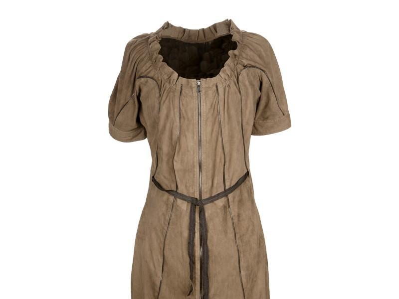 brązowa sukienka Ochnik skórzana wiosenna kolekcja