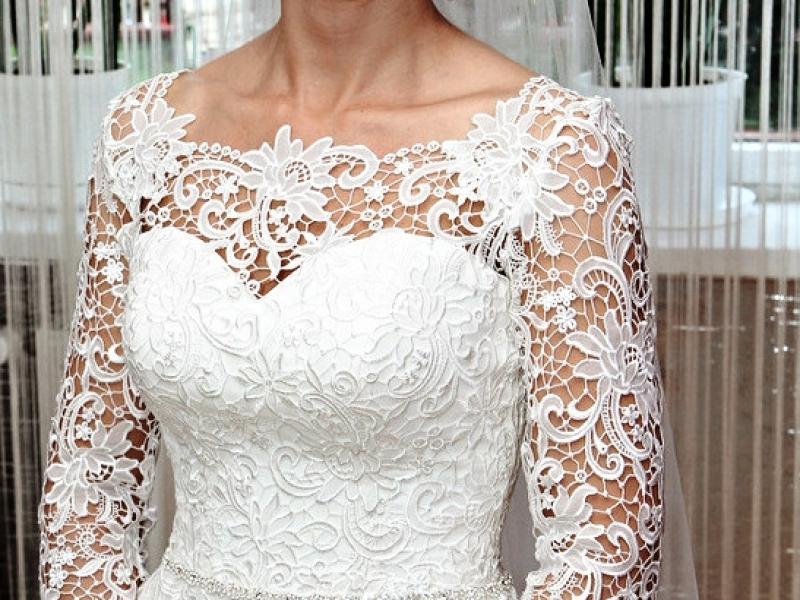 Romantyczna Suknia ślubna Rozmiar 34 Długi Rękaw Koronka Suknie