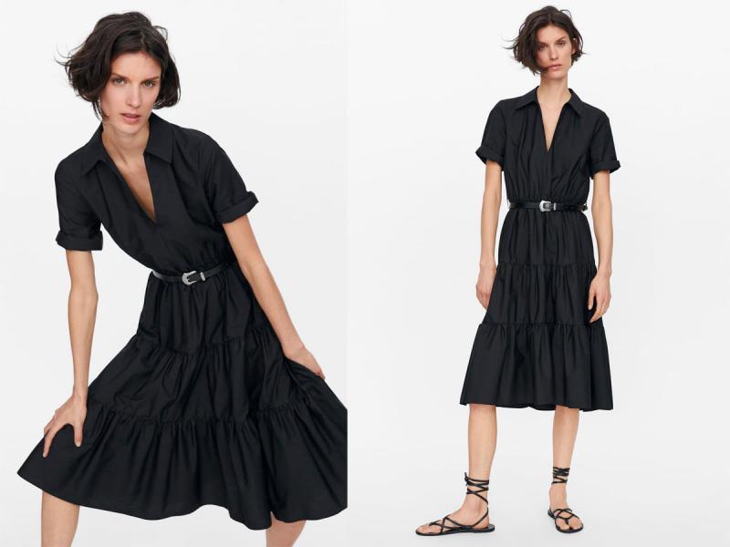 czarna sukienka midi zara