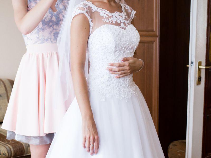 Suknia ślubna Typu Princessa Koronka Kryształki Rozm 3436