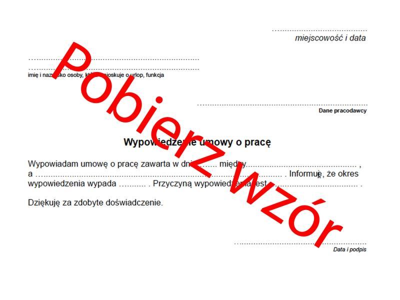 Wypowiedzenie Umowy O Pracę Przez Pracownika Wzór Praca Polkipl