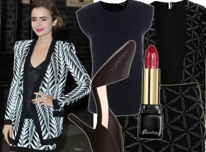 25-letnia Lily Collins w modnej garsonce