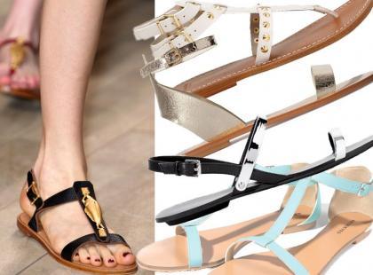 25 par świetnych, płaskich sandałów na wiosnę i lato 2014