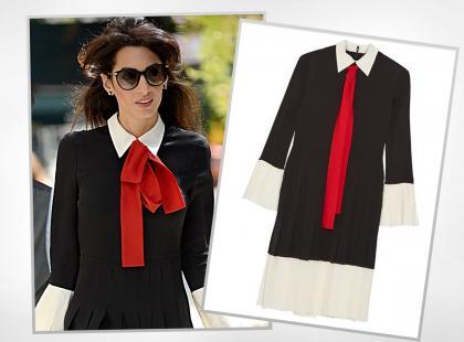 38-letnia Amal Clooney w stylowej sukience z plisami