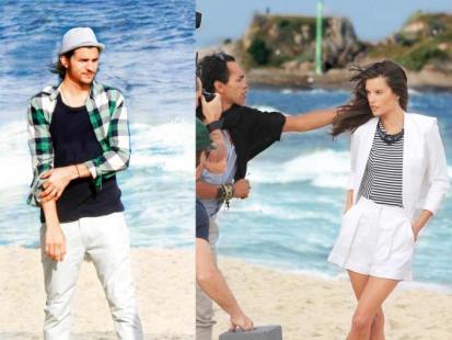 Ashton Kutcher  i Alessandra Ambrosio - Romans na plaży...