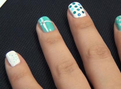 Biało-miętowe paznokcie krok po kroku