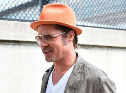 Brad Pitt na planie reklamy w Nowym Jorku