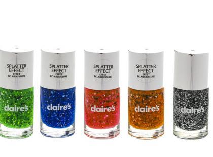 Brokatowe lakiery do paznokci Splatter Effect - Claire's