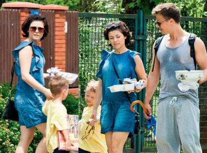 Ciężarna Kasia Cichopek na rodzinnym spacerze